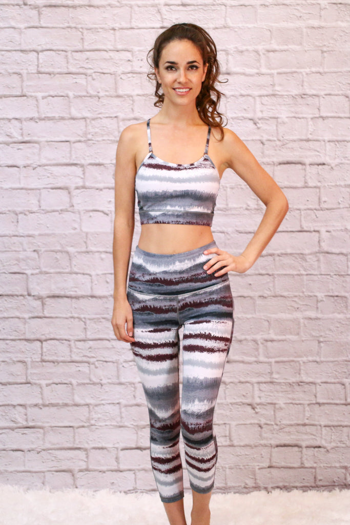 High Waist Black, White, and Grey Striped Leggings with Sports Bra Front View