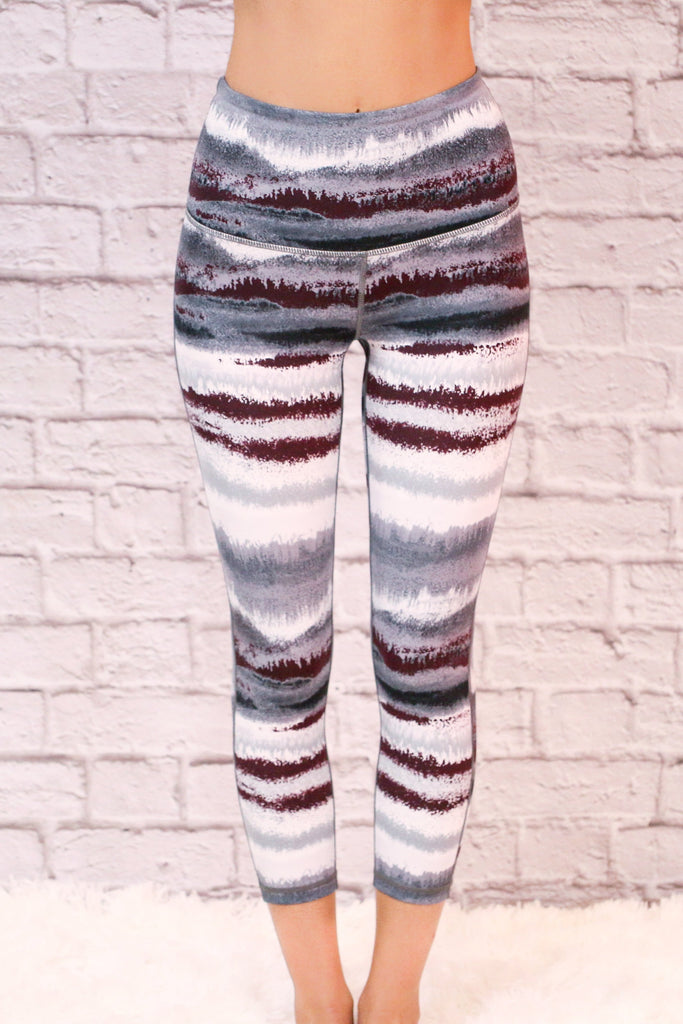 High Waist Black,White, and Grey Striped Activewear Leggings Close UP