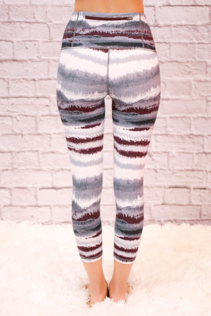 High Waist Black, White, and Grey Striped Activewear Legging with Back Zip Pocket
