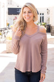 Just Because Cold Shoulder Thermal Top-Mauve