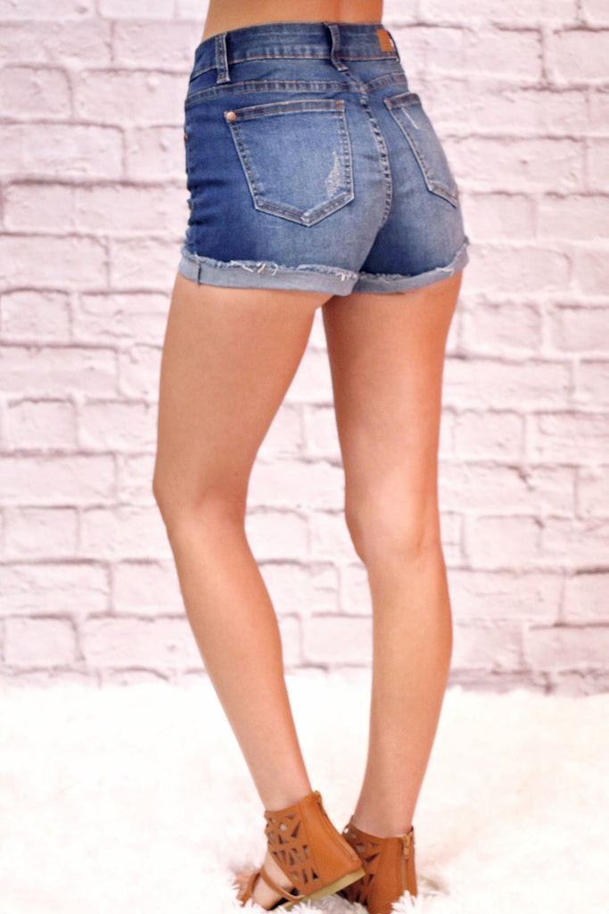 Judy Blue Cuffed Denim Shorts- Dark Wash