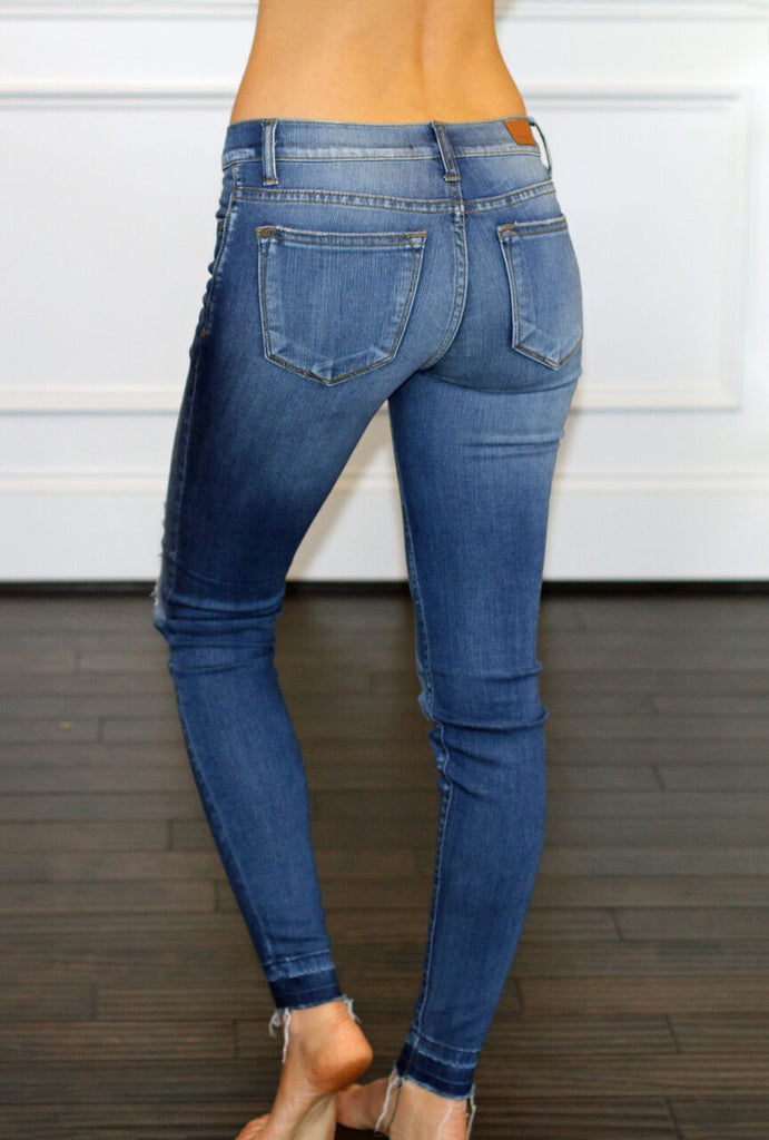 Judy Blue-Destroyed Patch Skinny Jeans