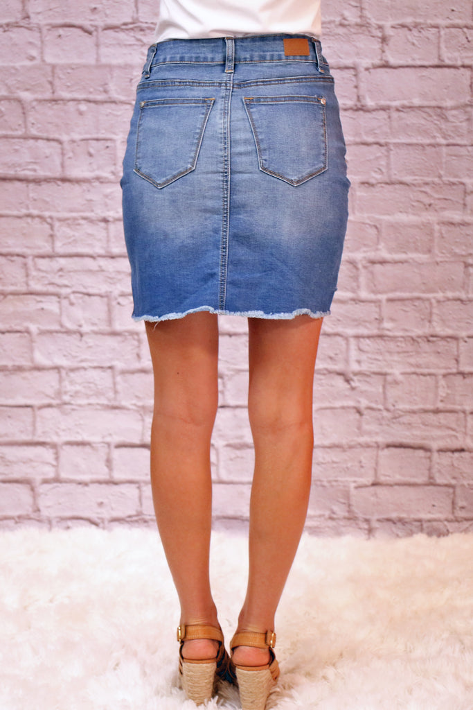 Judy Blue High-Low Slit Denim Skirt Back View With Pockets