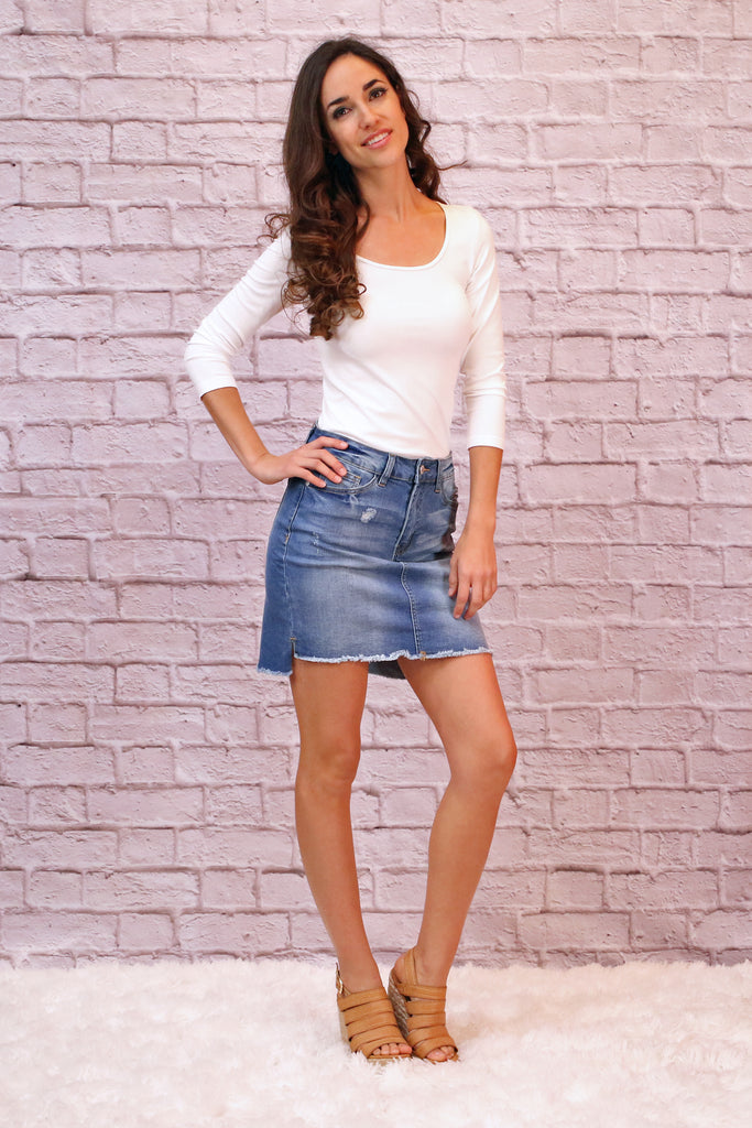 Judy Blue High-Low Denim Skirt With White Top and Wedges