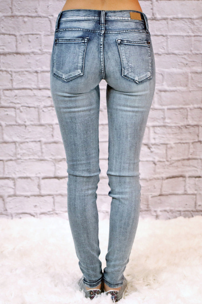 Judy Blue Washed Out Destroyed Skinny Jeans- Medium Wash