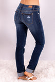 Judy Blue Straight Leg Cuffed Jeans- Dark Wash