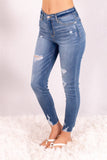 Judy Blue Destroyed Hem Mid-Rise Skinny Jeans- Medium Wash Front Left View