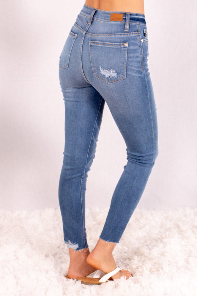 Judy Blue Destroyed Hem Mid-Rise Skinny Jeans- Medium Wash Back Right View