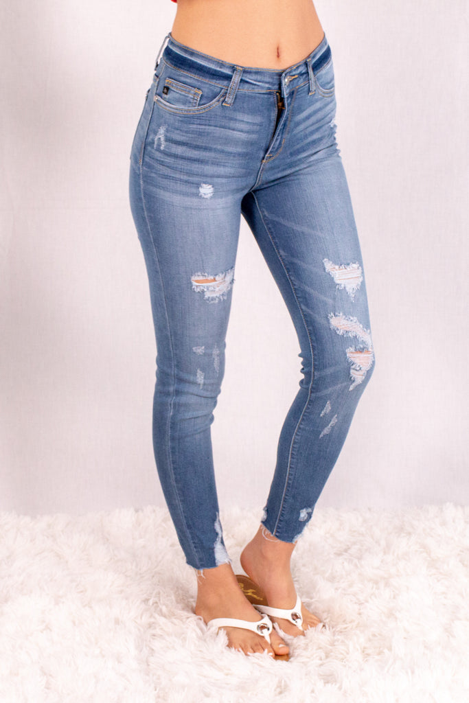 Judy Blue Destroyed Hem Mid-Rise Skinny Jean- Medium Wash Front Right View