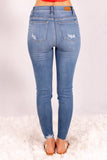 Judy Blue Destroyed Hem Mid-Rise Skinny Jeans- Medium Wash Back View