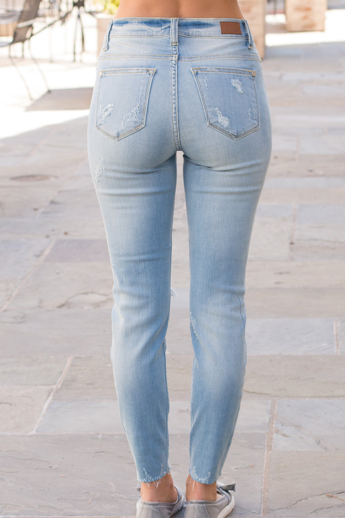 Judy Blue Raw Hem Skinny Jeans- Light Wash