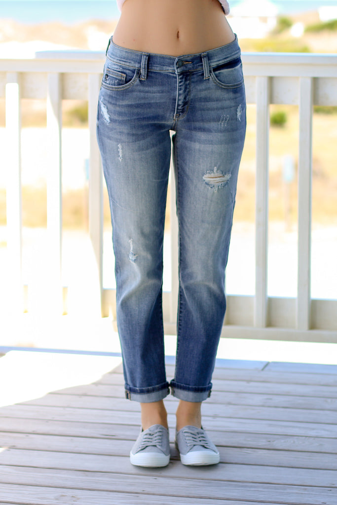 Judy Blue Boyfriend Fit Jean Medium Wash Front View