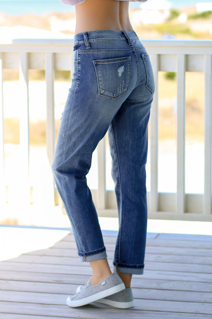 Judy Blue Boyfriend Fit Jean Medium Wash Back View Left