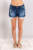 Judy Blue Crochet Pocket Denim Shorts Front View