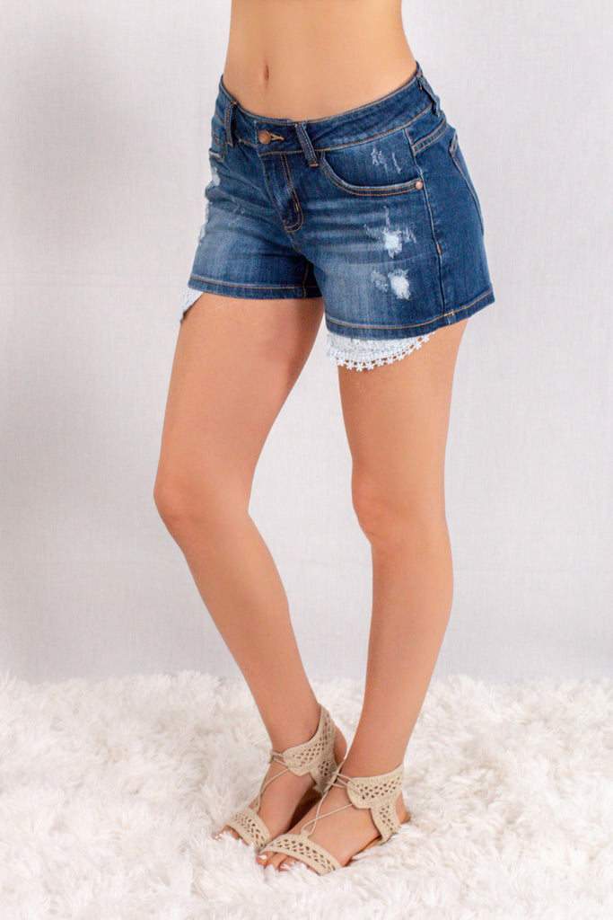 Judy Blue Crochet Pocket Denim Shorts Front Left View