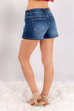 Judy Blue Crochet Pockets Denim Shorts Back Left View