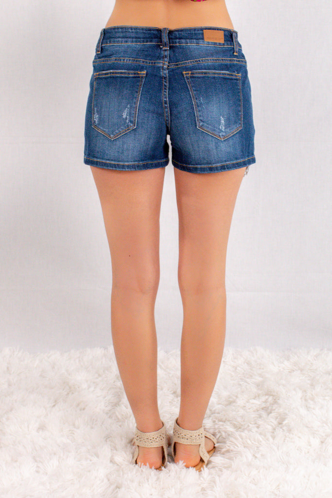 Judy Blue Crochet Pocket Denim Shorts Back View