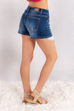 Judy Blue Crochet Pockets Denim Shorts Back Right View