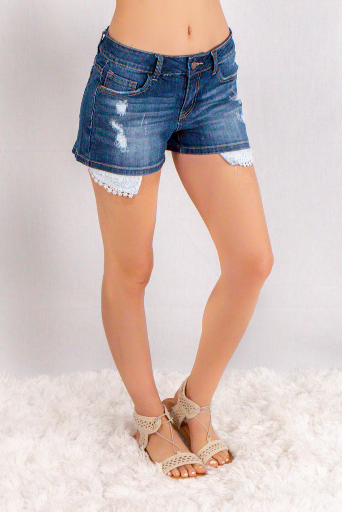 Judy Blue Crochet Pocket Denim Shorts Front Right View