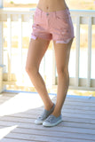 Pink Distressed Mid-rise Shorts
