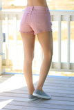 Pink Distressed Mid-rise Shorts Back View Right