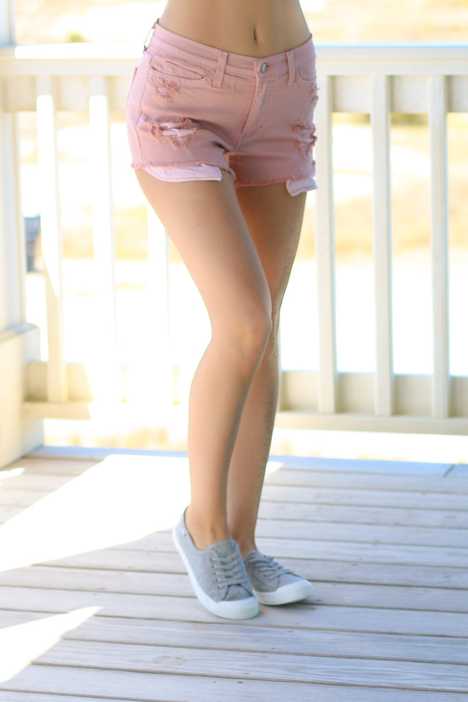 Pink Distressed Mid-rise Shorts Side View