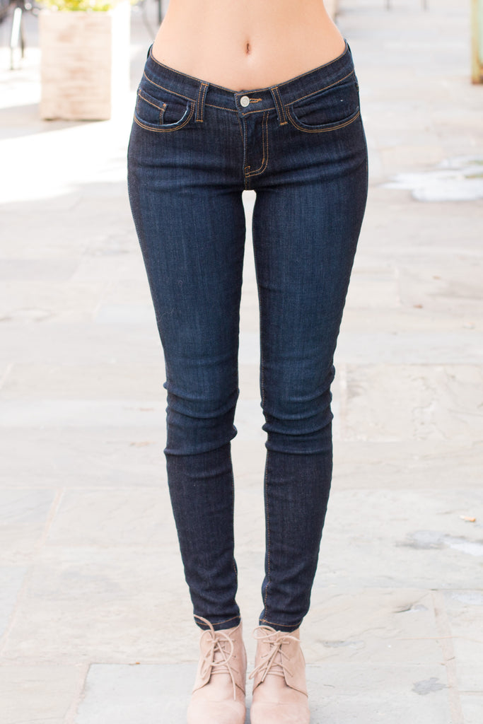 Judy Blue Ultra Dark Wash Skinny Jeans with Gold Stitching (Front View)