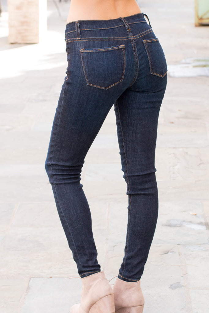 Judy Blue Ultra Dark Wash Skinny Jeans with Gold Stitching (Back Left View)