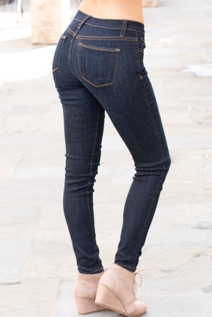 Judy Blue Ultra Dark Wash Skinny Jeans with Gold Stitching (Back Right View)