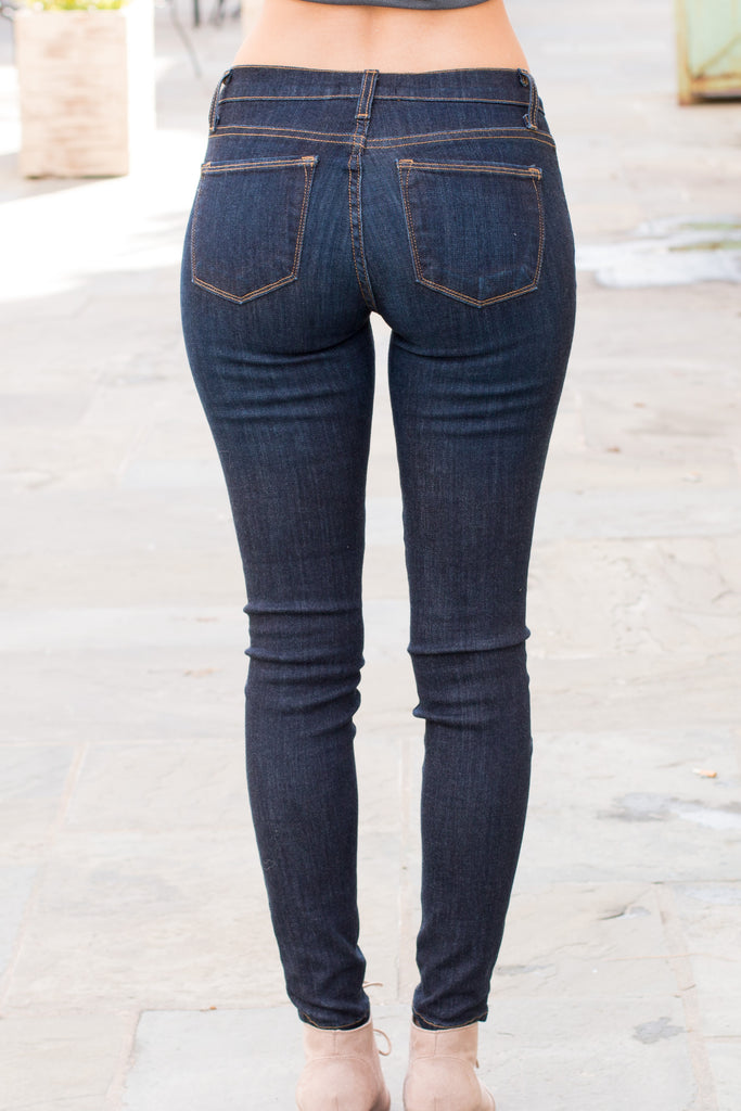 Judy Blue Ultra Dark Wash Skinny Jeans with Gold Stitching (Back View)