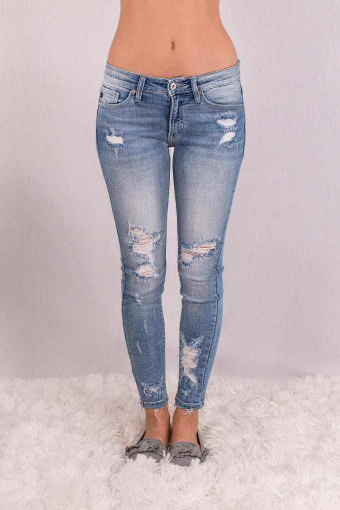 Kancan Light Wash Destroyed Crop Jeans with Raw Edge Hem and Distressing Front View