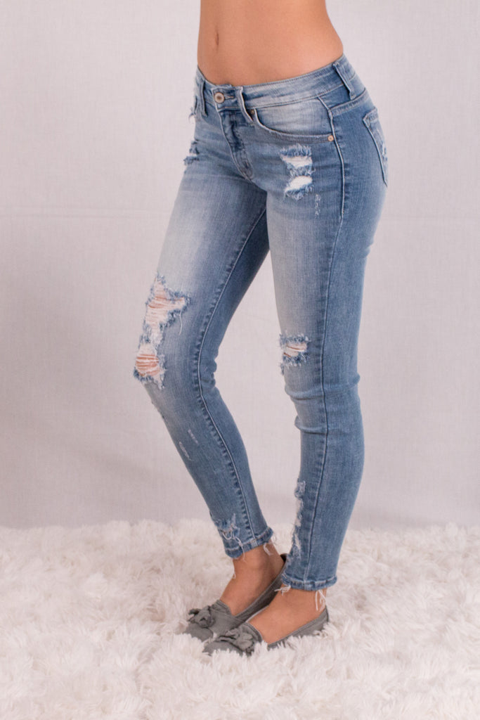 Kancan Light Wash Destroyed Crop Jeans with Raw Edge Hem and Distressing  Front Left View