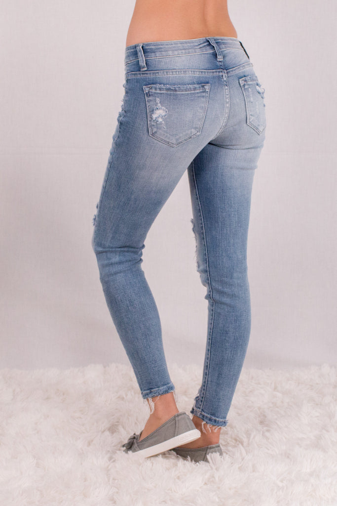Kancan Light Wash Destroyed Crop Jeans with Raw Edge Hem and Distressing Back Left View