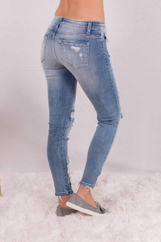 Kancan Light Wash Destroyed Crop Jeans with Raw Edge Hem and Distressing Back Right View