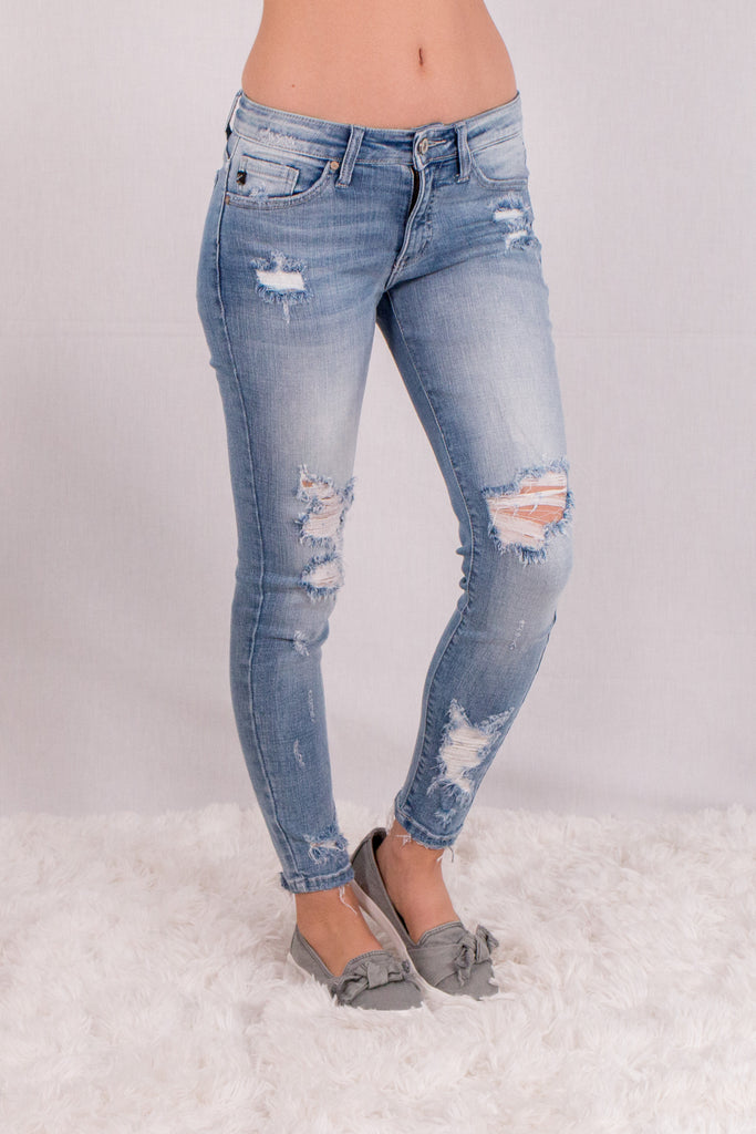 Kancan Light Wash Destroyed Crop Jeans with Raw Edge Hem and Distressing Front Right View