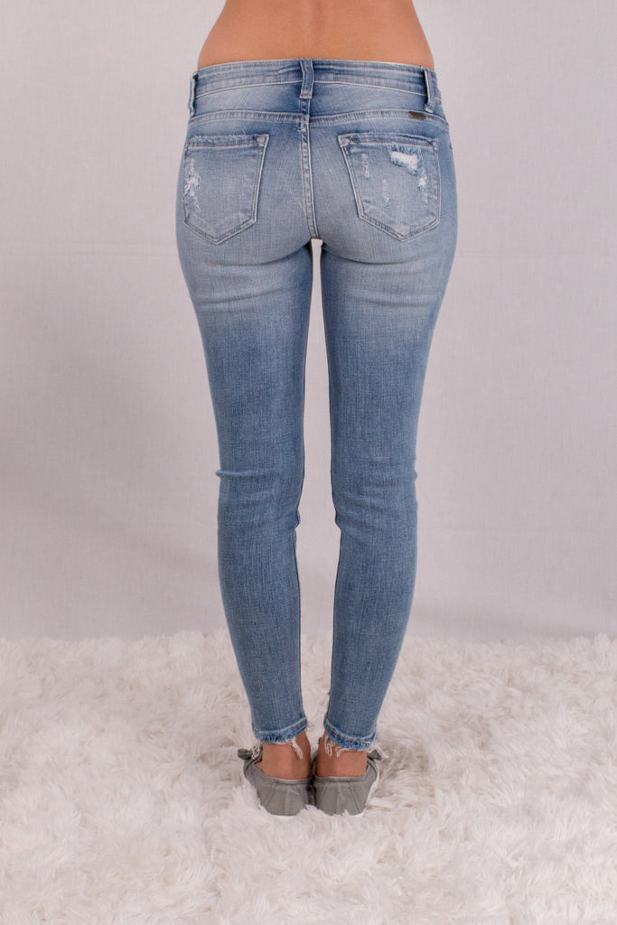 Kancan Light Wash Destroyed Crop Jeans with Raw Edge Hem and Distressing Back View