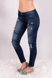 Kancan Distressed Dark Wash Moto Jeans Front Left View