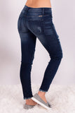 Kancan Distressed Dark Wash Moto Jeans Back Right View