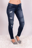 Kancan Distressed Dark Wash Moto Jeans Front Right View