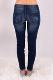 Kancan Distressed Dark Wash Moto Jeans Back View