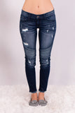 Kancan Distressed Dark Wash Moto Jeans Front View