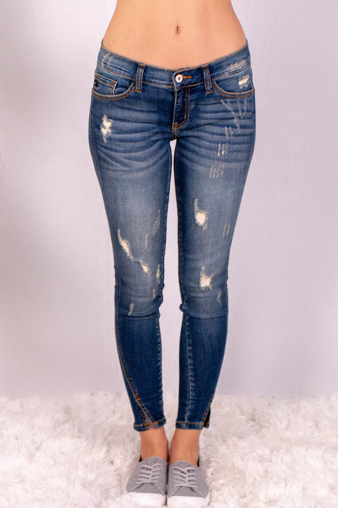 Medium Wash Split Hem Skinny Jeans with Distressed Detail Front View