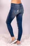 Medium Wash Split Hem Skinny Jeans with Distressed Detail Back Left View