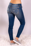 Medium Wash Split Hem Skinny Jeans with Distressed Detail Back Right View