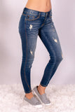 Medium Wash Split Hem Skinny Jeans with Distressed Detail Front Right View