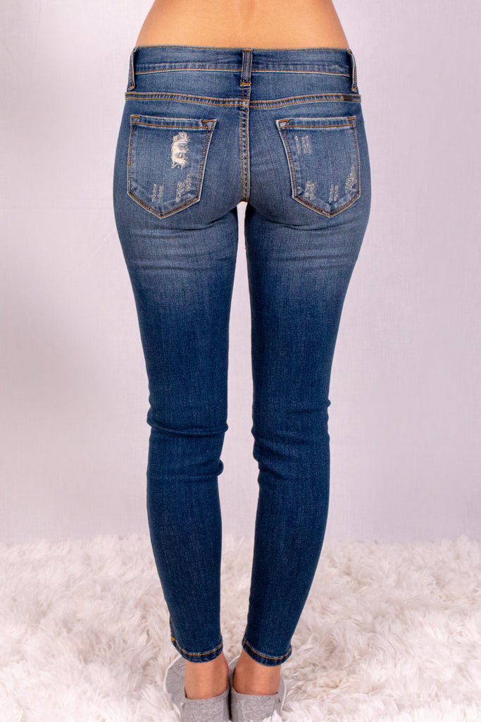 Medium Wash Split Hem Skinny Jeans with Distressed Detail Back View