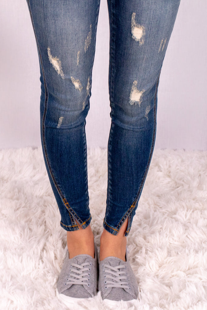 Medium Wash Split Hem Skinny Jeans with Distressed Detail Pant Close Up
