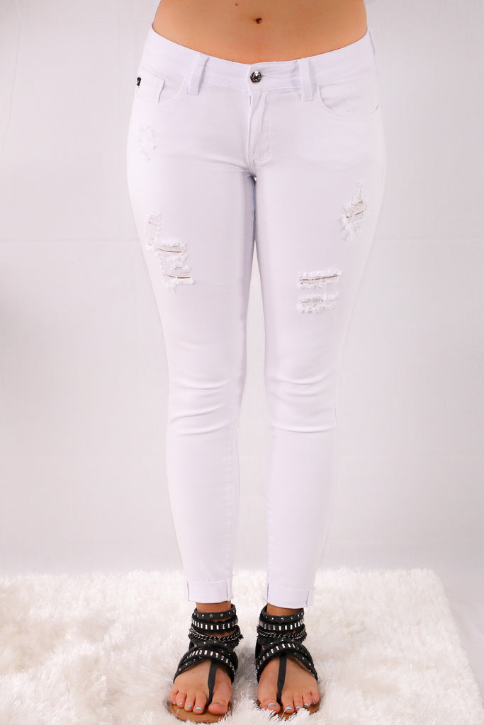 White Skinny Jeans with Destroyed Detailing Front View