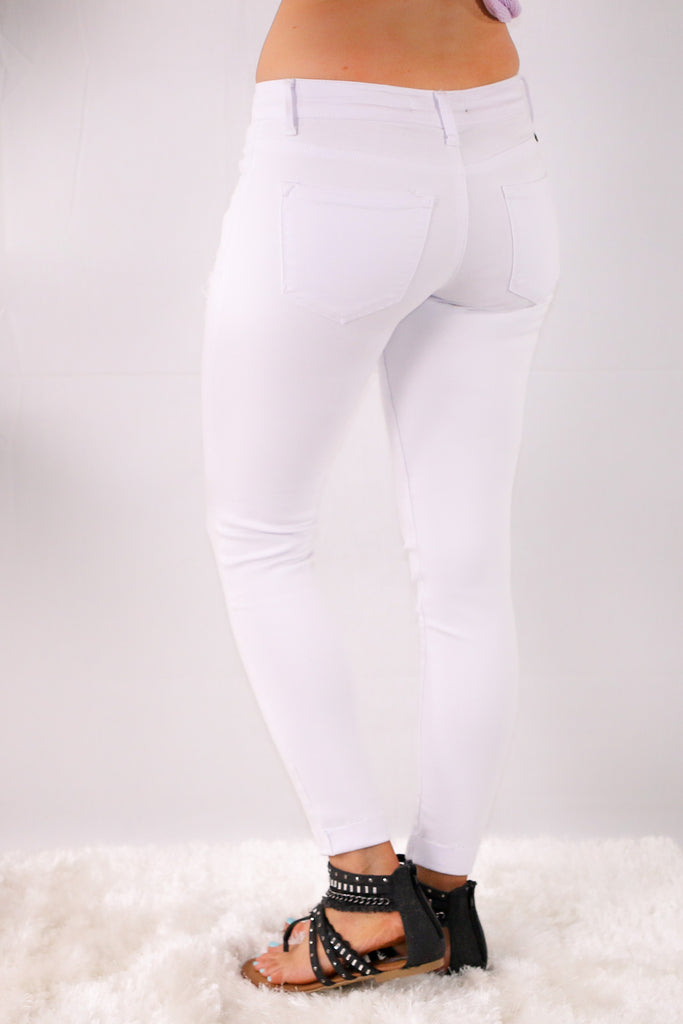 White Skinny Jeans with Destroyed Detailing Back/Side View