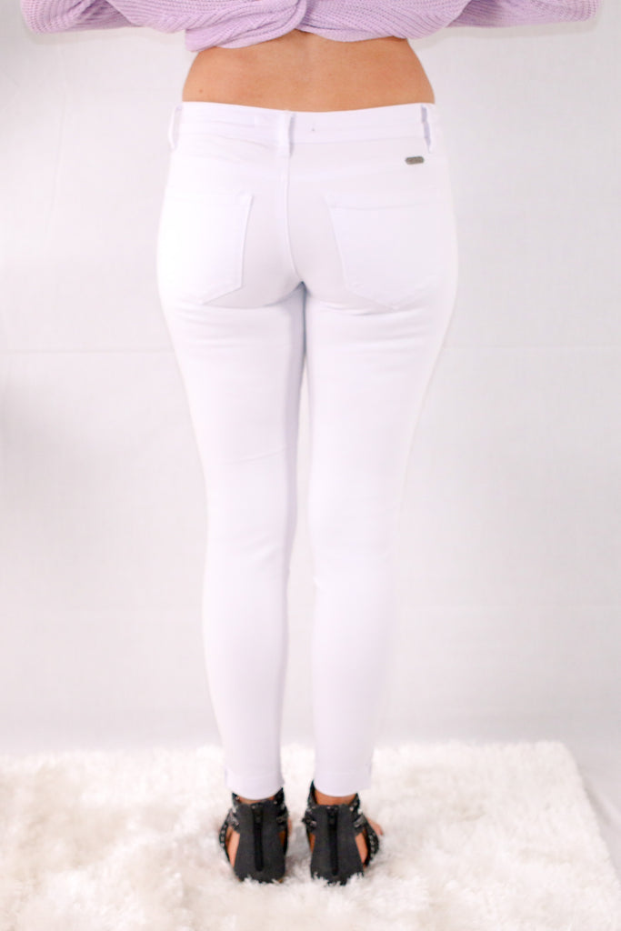 White Skinny Jeans with Destroyed Detailing Back View